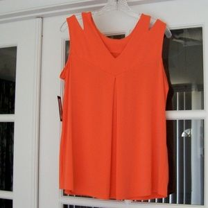 Worthington Orange Cold Shoulder Top  Large